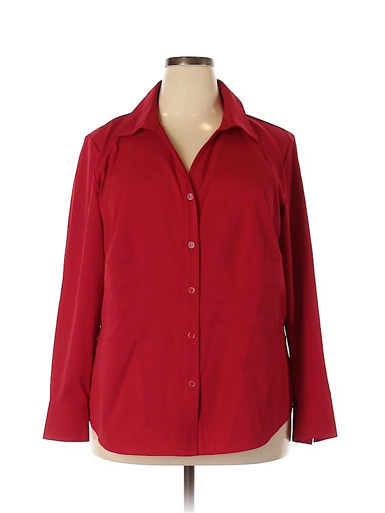 Style&Co Women Long Sleeve Button-Down Shirt Size 18 (Plus)