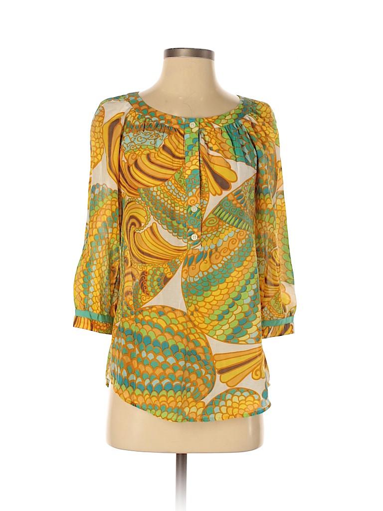 Banana Republic Trina Turk Collection Women 3/4 Sleeve Blouse Size 4