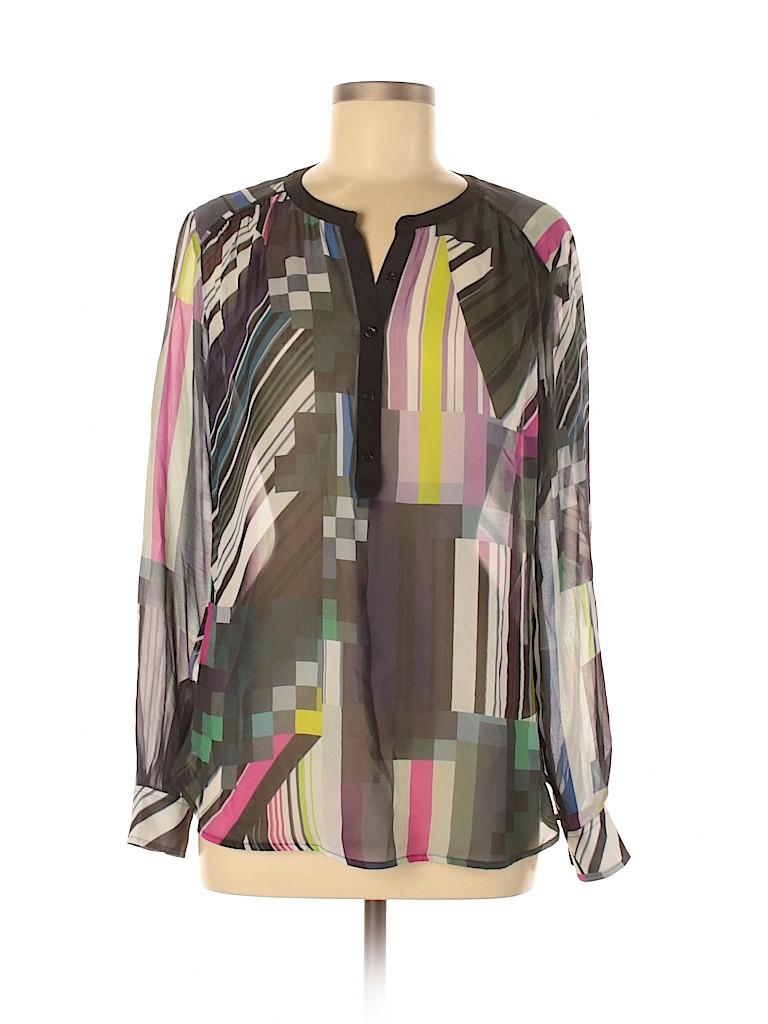 Trina Turk Women Long Sleeve Silk Top Size M