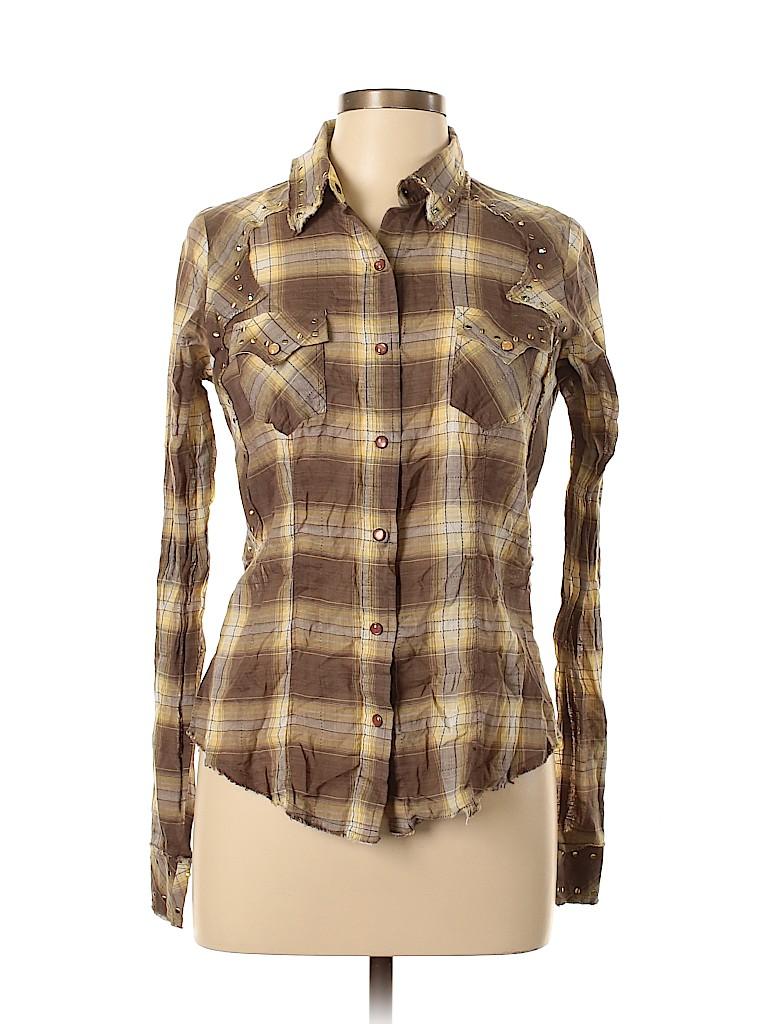 Unbranded Women Long Sleeve Button-Down Shirt Size L