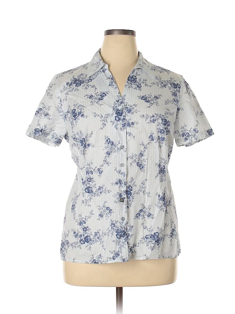 Pendleton Women Short Sleeve Button-Down Shirt Size 16