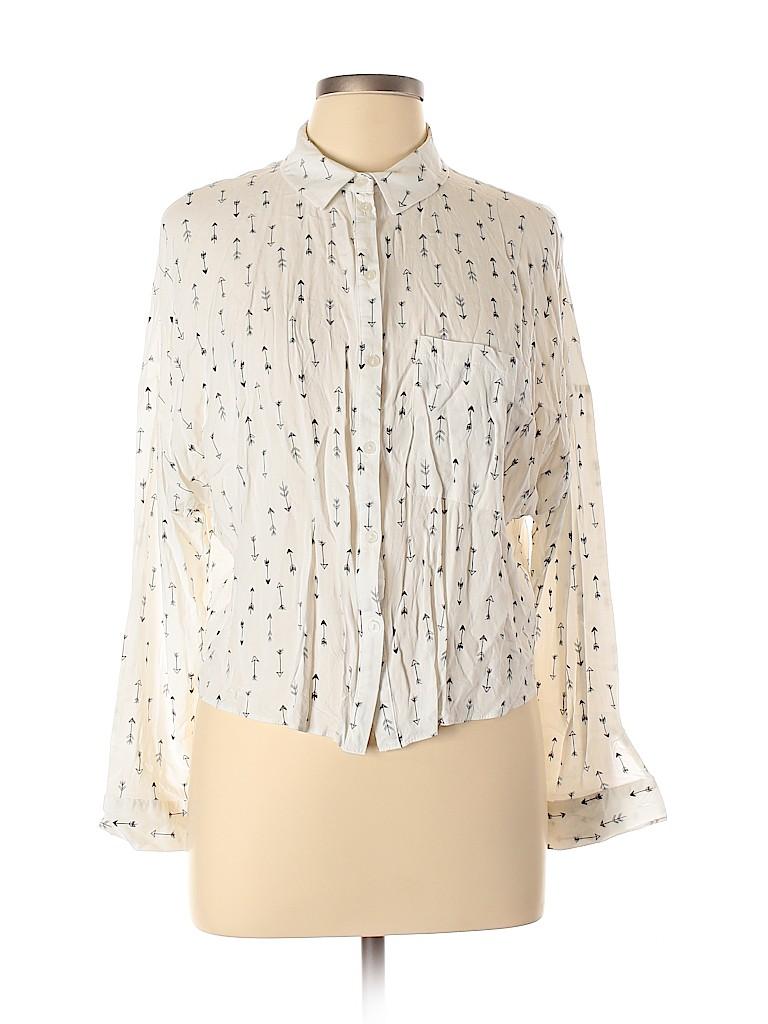 Primark Women Long Sleeve Button-Down Shirt Size 12
