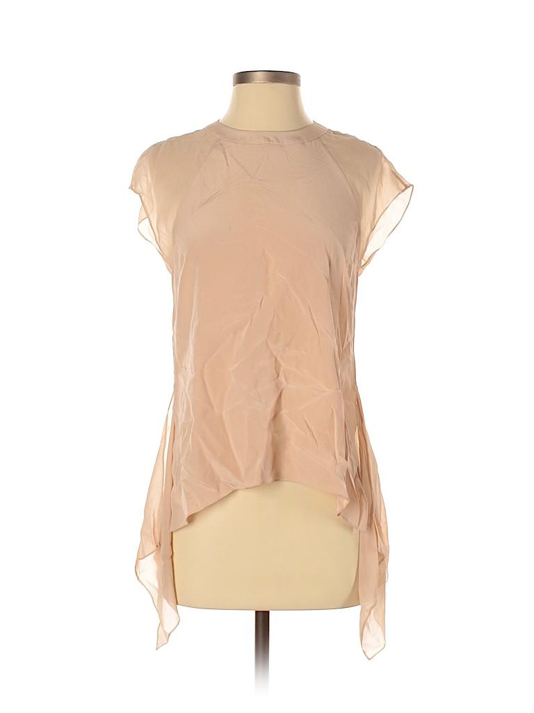 BCBGMAXAZRIA Women Short Sleeve Silk Top Size XS