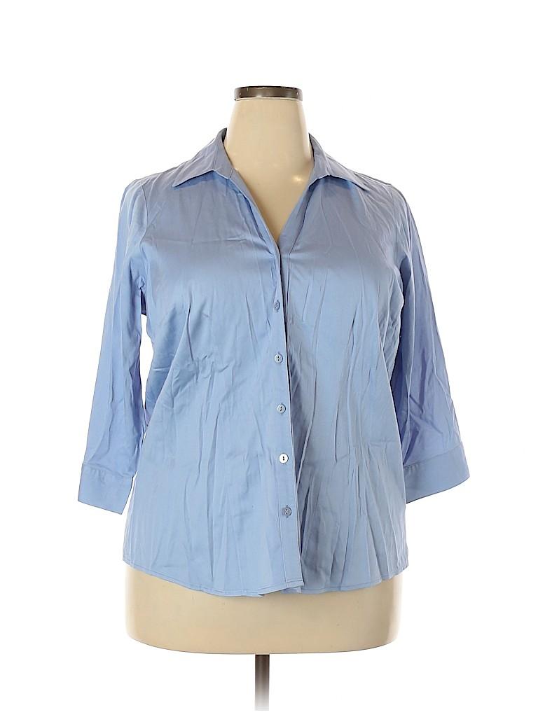 212 Collection Women 3/4 Sleeve Button-Down Shirt Size 1X (Plus)