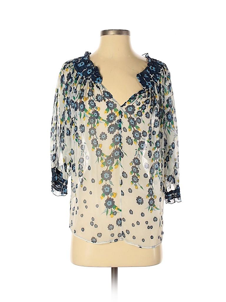 Diane von Furstenberg Women 3/4 Sleeve Silk Top Size 2