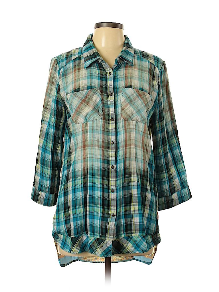 Aratta Silent Journey Women 3/4 Sleeve Button-Down Shirt Size L