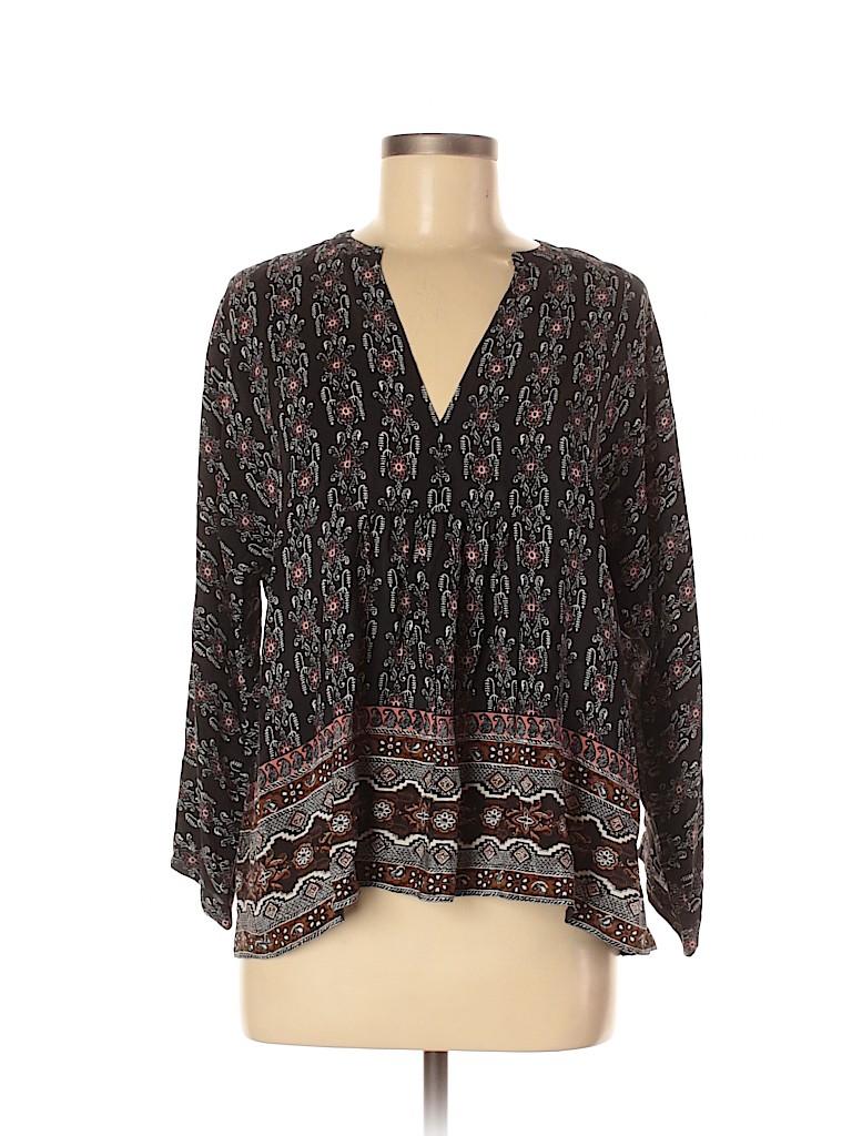 Madewell Women 3/4 Sleeve Silk Top Size M