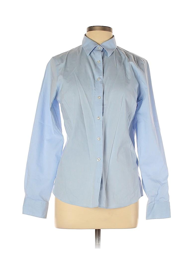 Lands' End Women Long Sleeve Button-Down Shirt Size 12