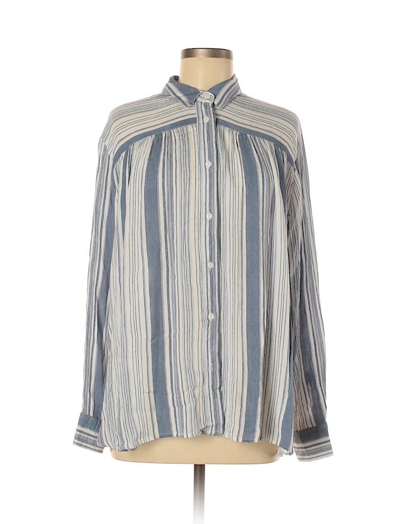 Vanilla Star Women Long Sleeve Button-Down Shirt Size M