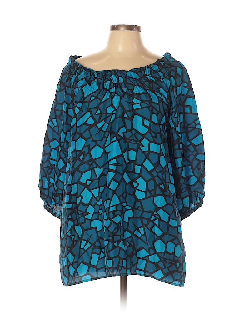 DKNYC Women 3/4 Sleeve Silk Top Size L
