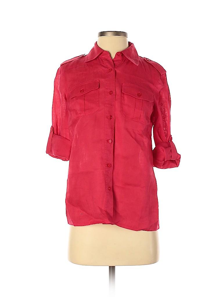 Tory Burch Women 3/4 Sleeve Button-Down Shirt Size 2