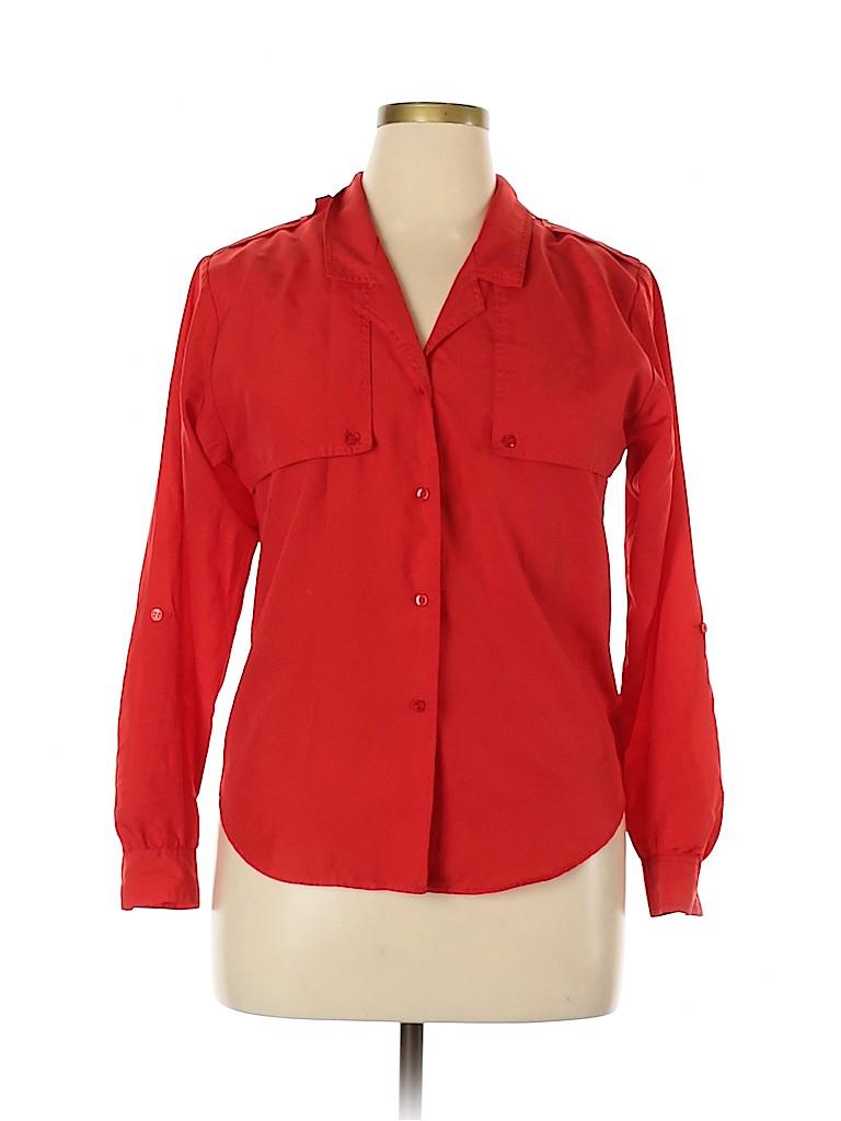 Diane von Furstenberg Women Long Sleeve Button-Down Shirt Size 10