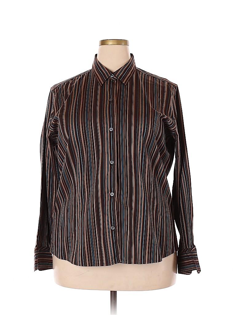 Eddie Bauer Women Long Sleeve Button-Down Shirt Size 2X (Plus)