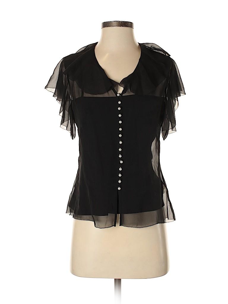 Badgley Mischka Women Short Sleeve Silk Top Size 4