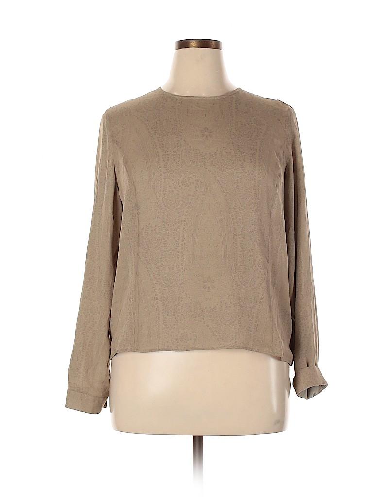 Armani Collezioni Women Long Sleeve Silk Top Size 14
