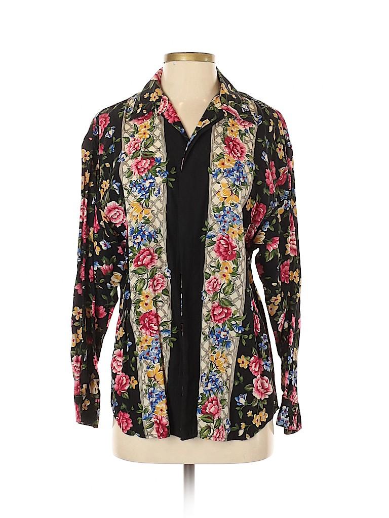 Lizwear by Liz Claiborne Women Long Sleeve Button-Down Shirt Size S