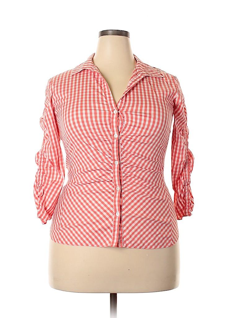 Lafayette 148 New York Women 3/4 Sleeve Button-Down Shirt Size 16