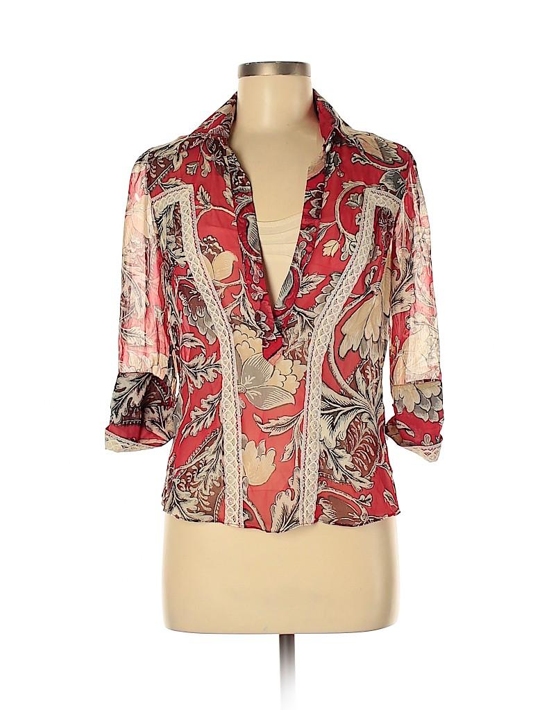Diane von Furstenberg Women 3/4 Sleeve Silk Top Size 6