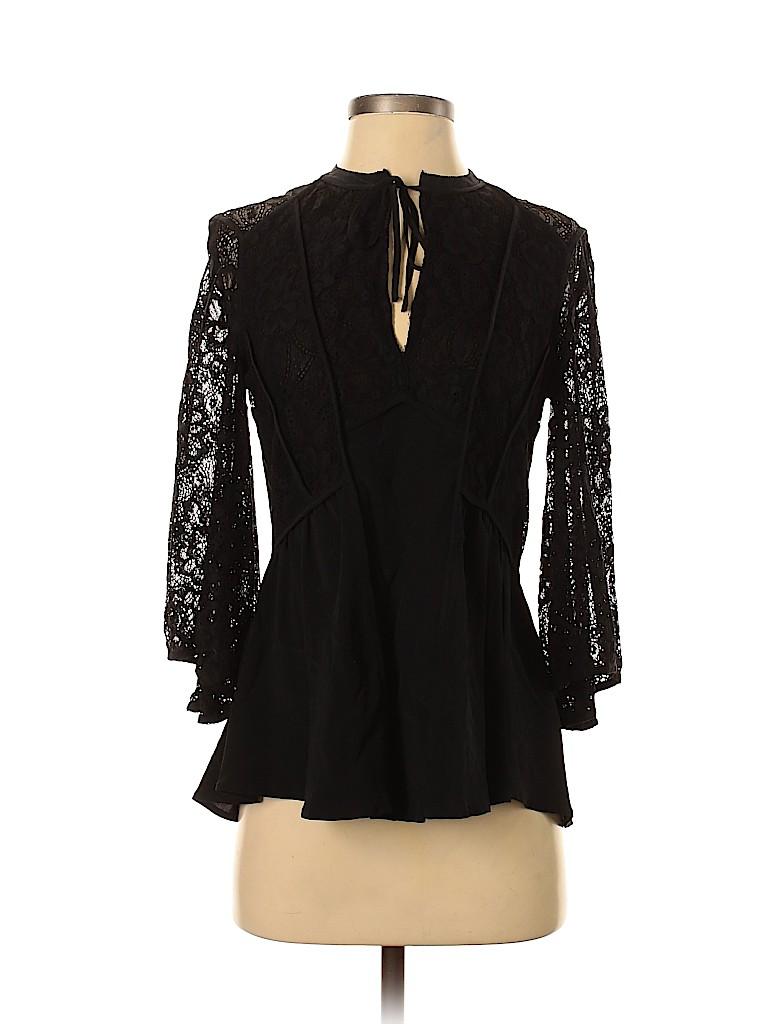 Badgley Mischka Women 3/4 Sleeve Silk Top Size 0