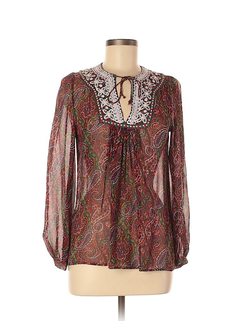 Neives Lavi Women Long Sleeve Silk Top Size S