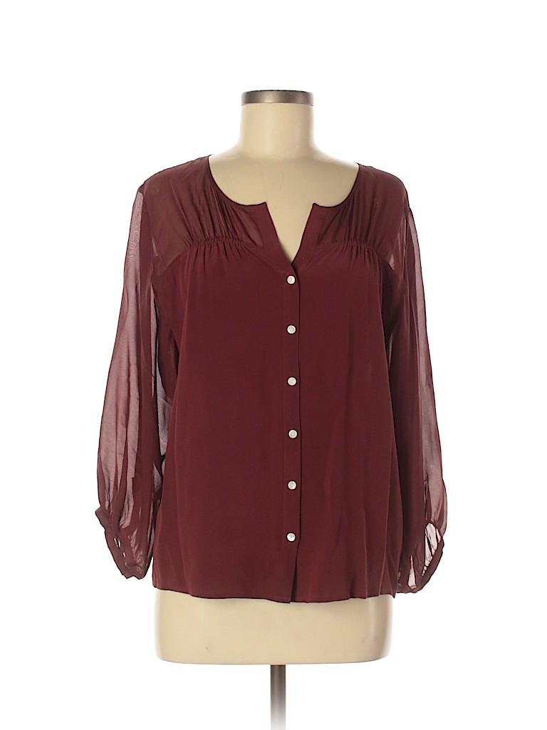 Covet Women Long Sleeve Silk Top Size M