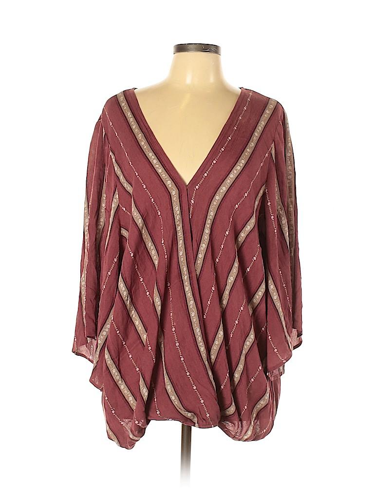 City Chic Women 3/4 Sleeve Blouse Size L (Plus)