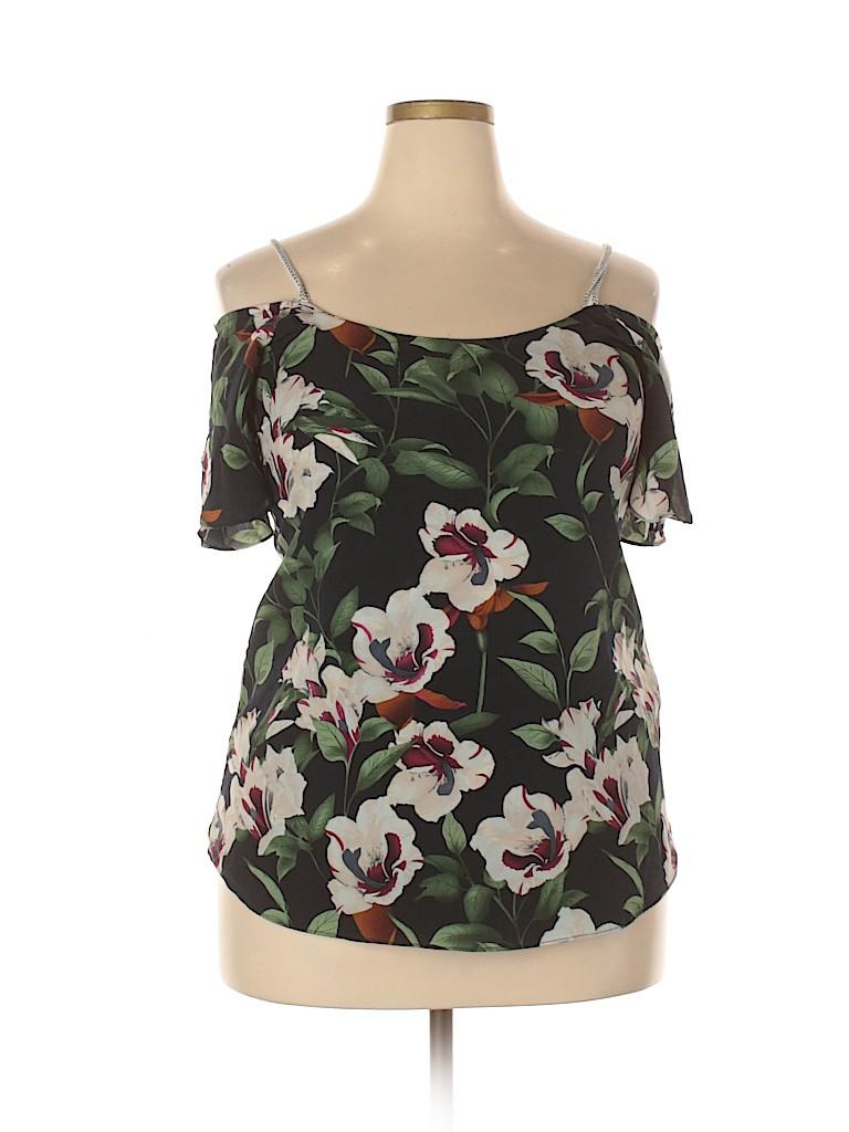 Coco + Carmen Women Short Sleeve Blouse Size 1X (Plus)