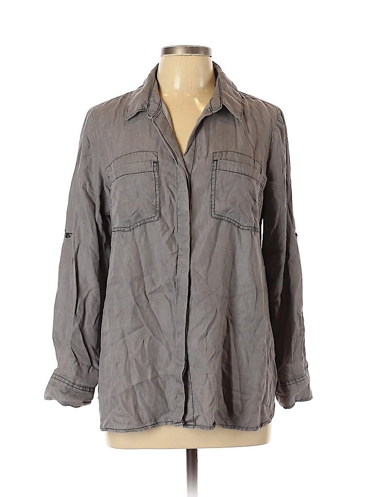 Terre Bleue Women Long Sleeve Button-Down Shirt Size L