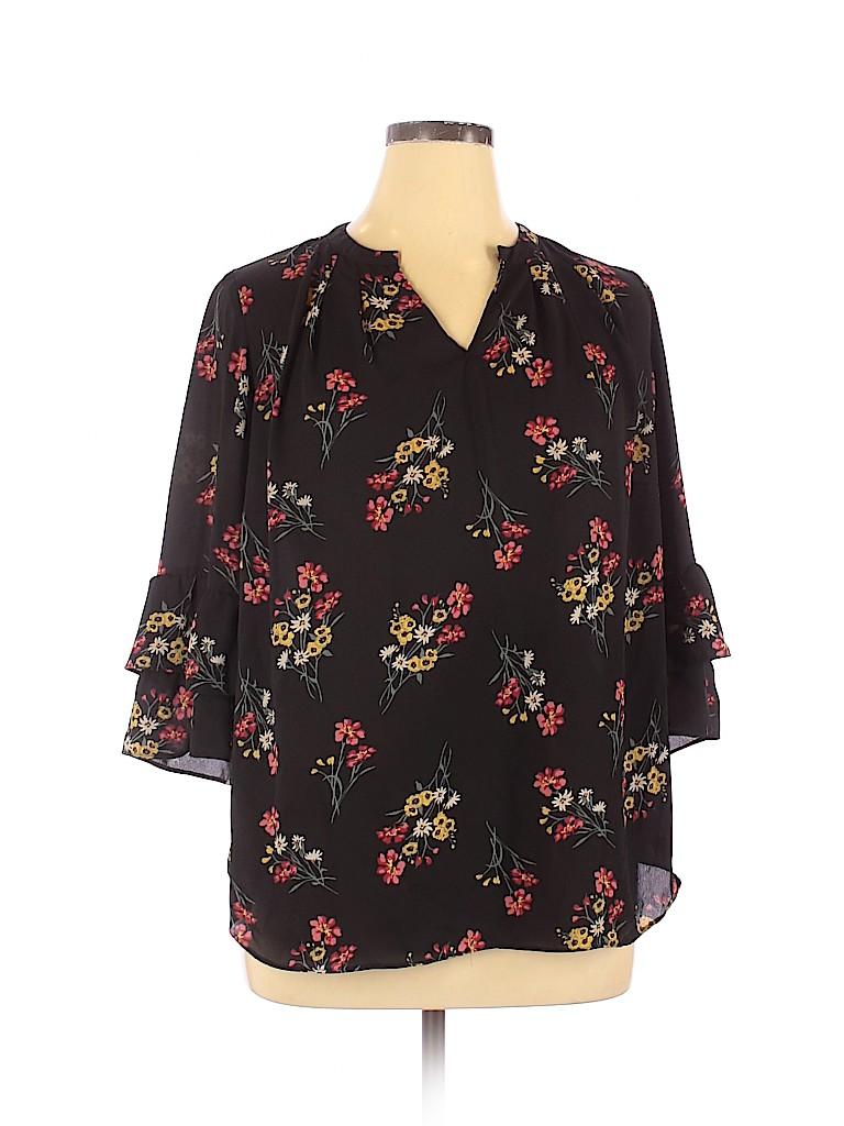 Violet & Claire Women 3/4 Sleeve Blouse Size 1X (Plus)