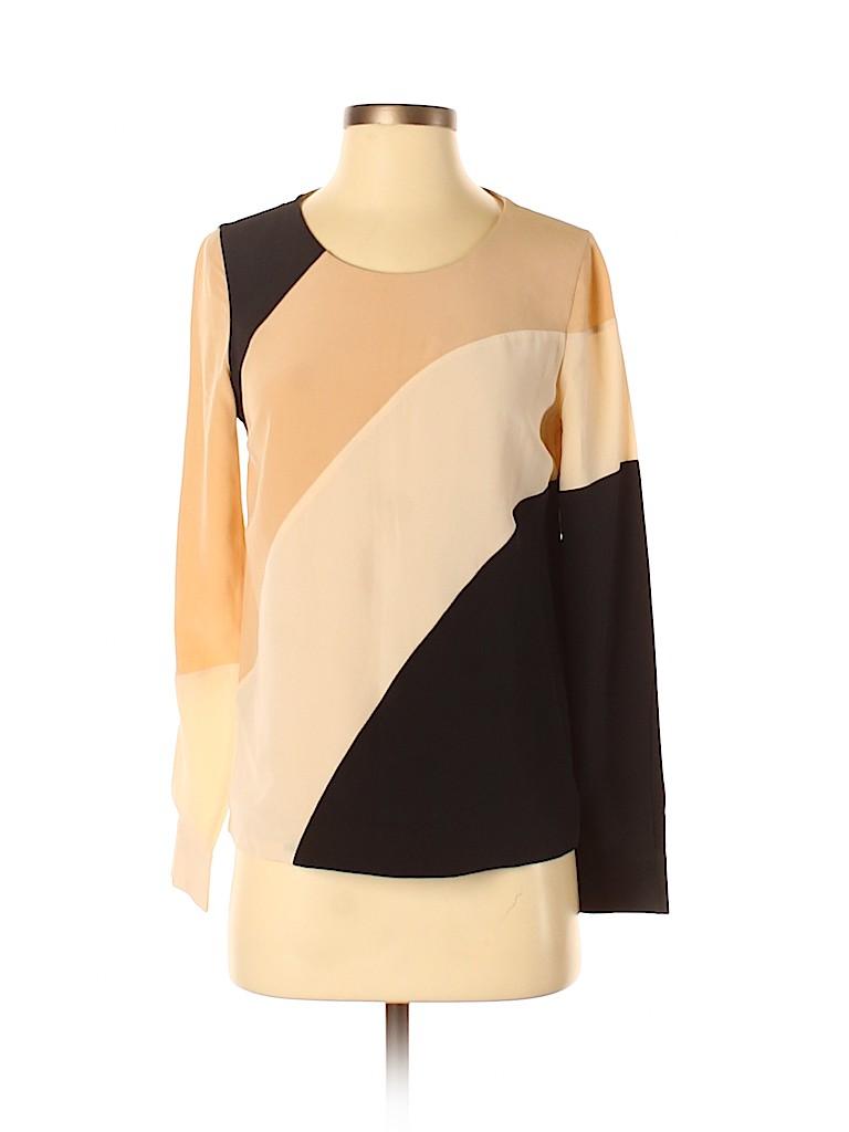Diane von Furstenberg Women Long Sleeve Silk Top Size 2
