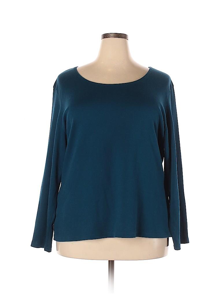 Karen Scott Women Long Sleeve T-Shirt Size 3X (Plus)