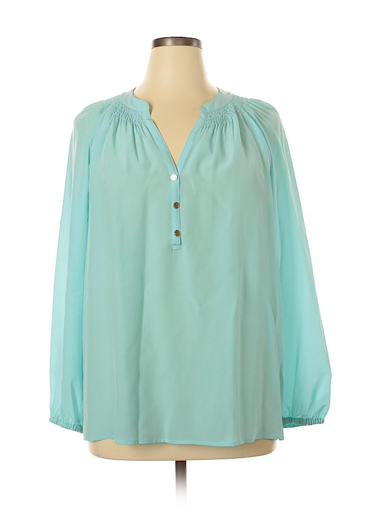 Lilly Pulitzer Women Long Sleeve Silk Top Size XL