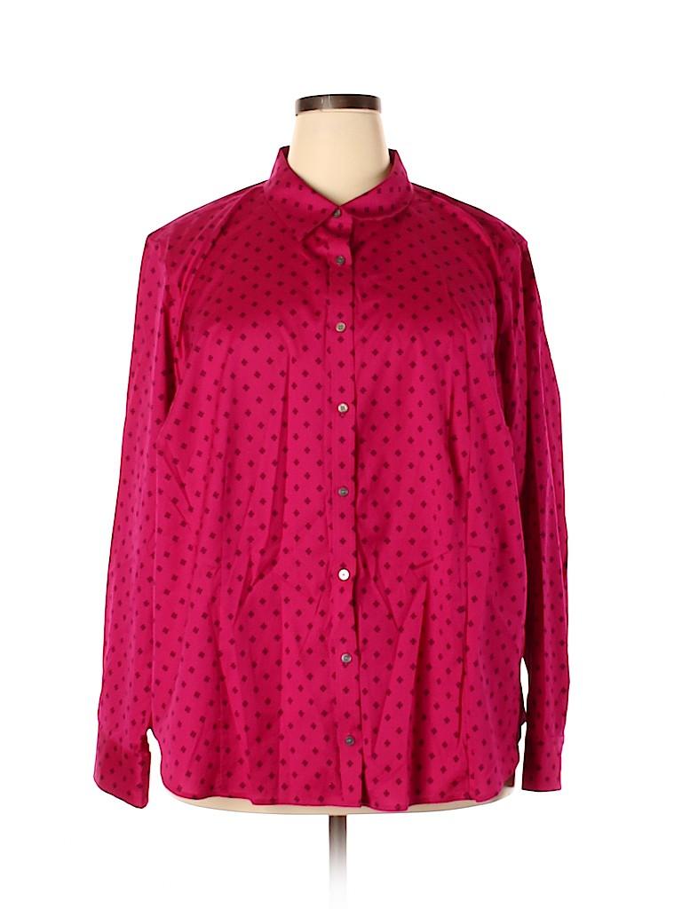 Talbots Women Long Sleeve Button-Down Shirt Size 24 (Plus)