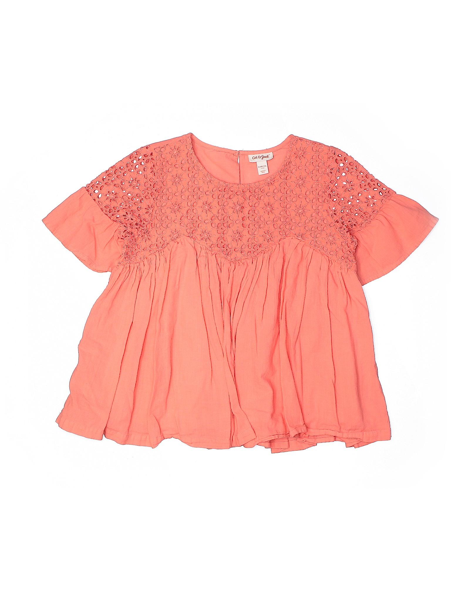 Girls Cat /& Jack Ruffle Short Sleeve Shirt Pink//Violet 4-5,10-12 3635 14-16