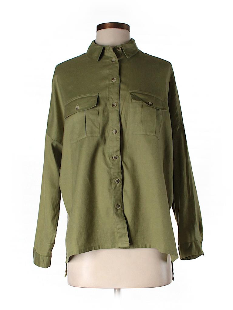 Topshop Women Long Sleeve Button-Down Shirt Size 4