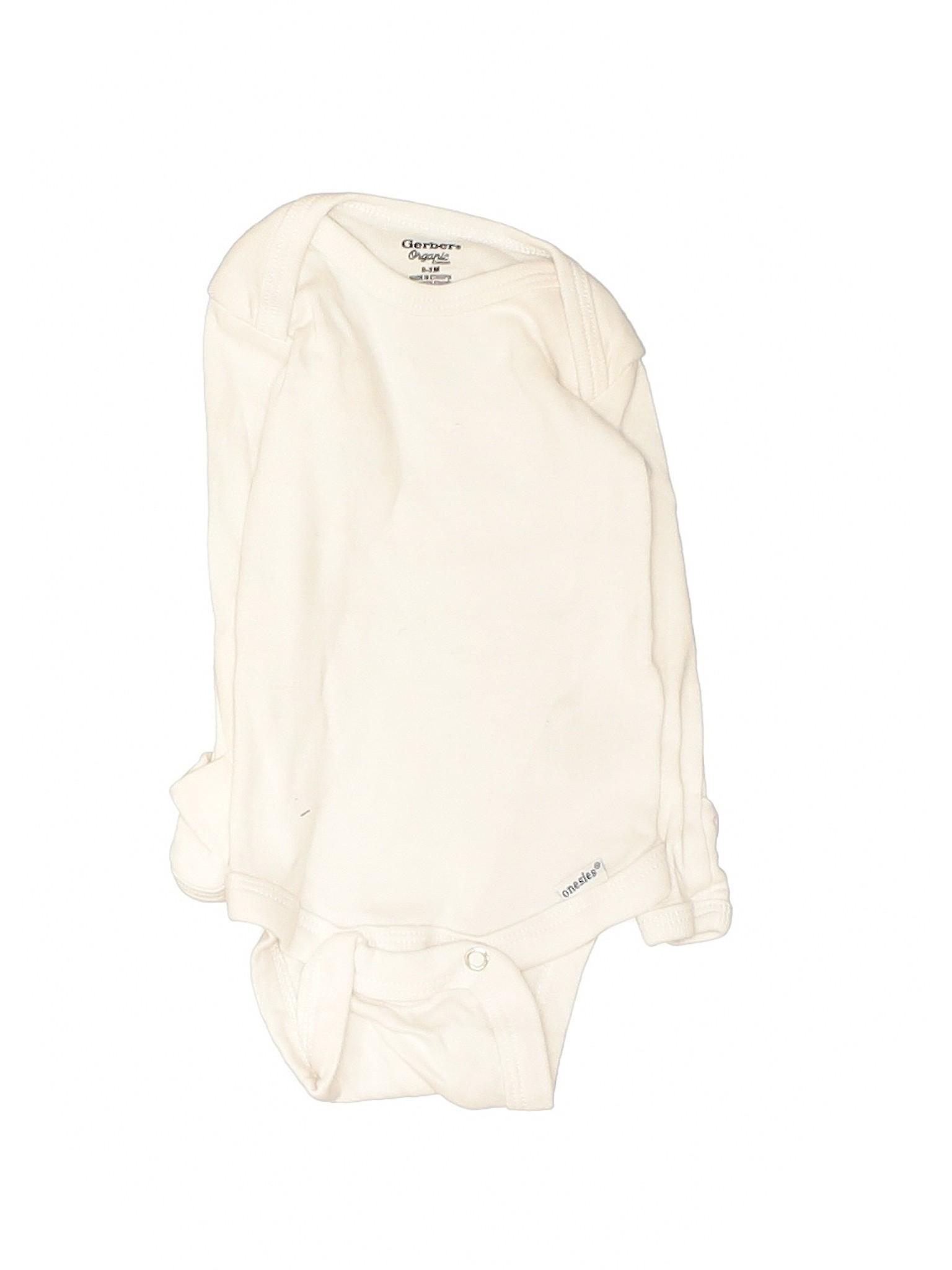 Gerber Organic Boys Ivory Long Sleeve Onesie 0-3 Months   eBay