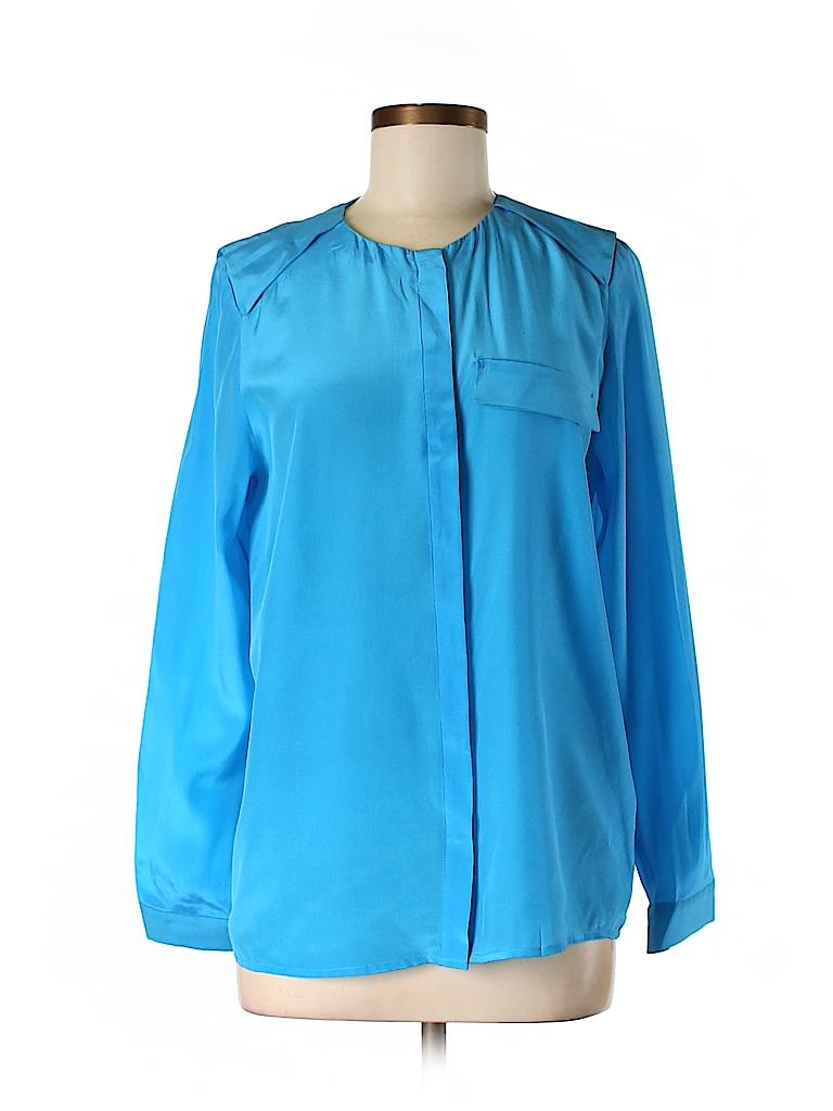 H&M Women Long Sleeve Silk Top Size 8