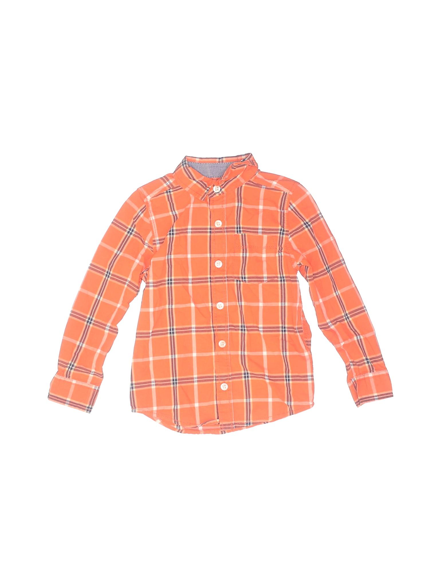 OshKosh B/'gosh Boys Toddlers 12M 4T Long Sleeve Button Down Flannel Shirt 3T