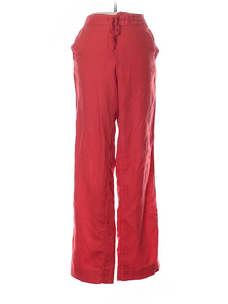 fleur bleue Solid Orange Linen Pants Size 4 - 78% off  36652390adb
