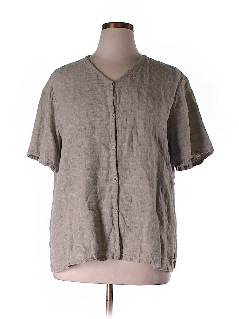 Eileen Fisher Short Sleeve Button Down Shirt 79 Off