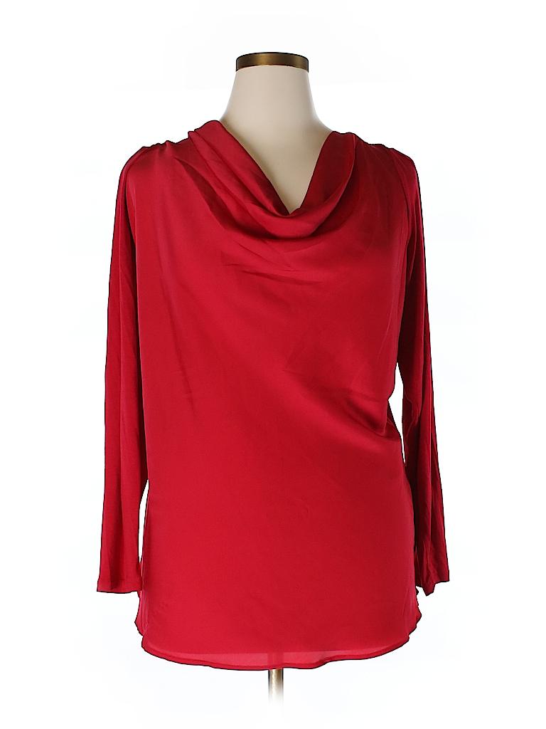 DKNYC Women Long Sleeve Blouse Size 1X (Plus)