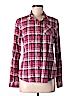 Flannel Women Long Sleeve Button-Down Shirt Size M