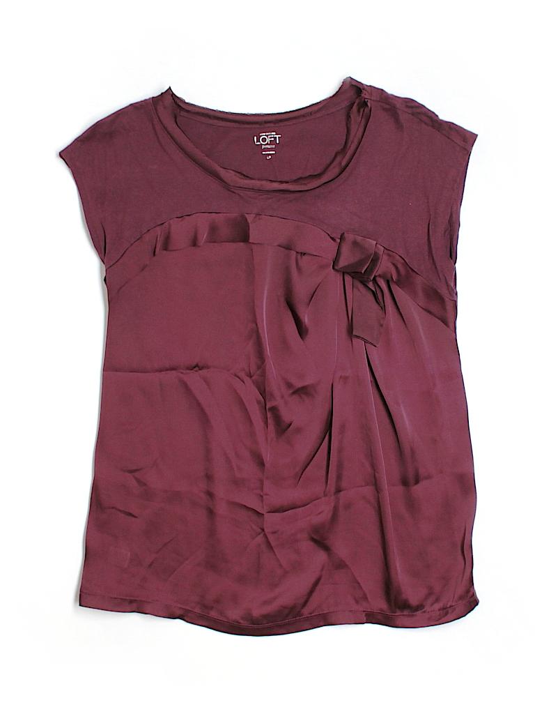 Ann Taylor LOFT Women Short Sleeve Blouse Size L (Petite)