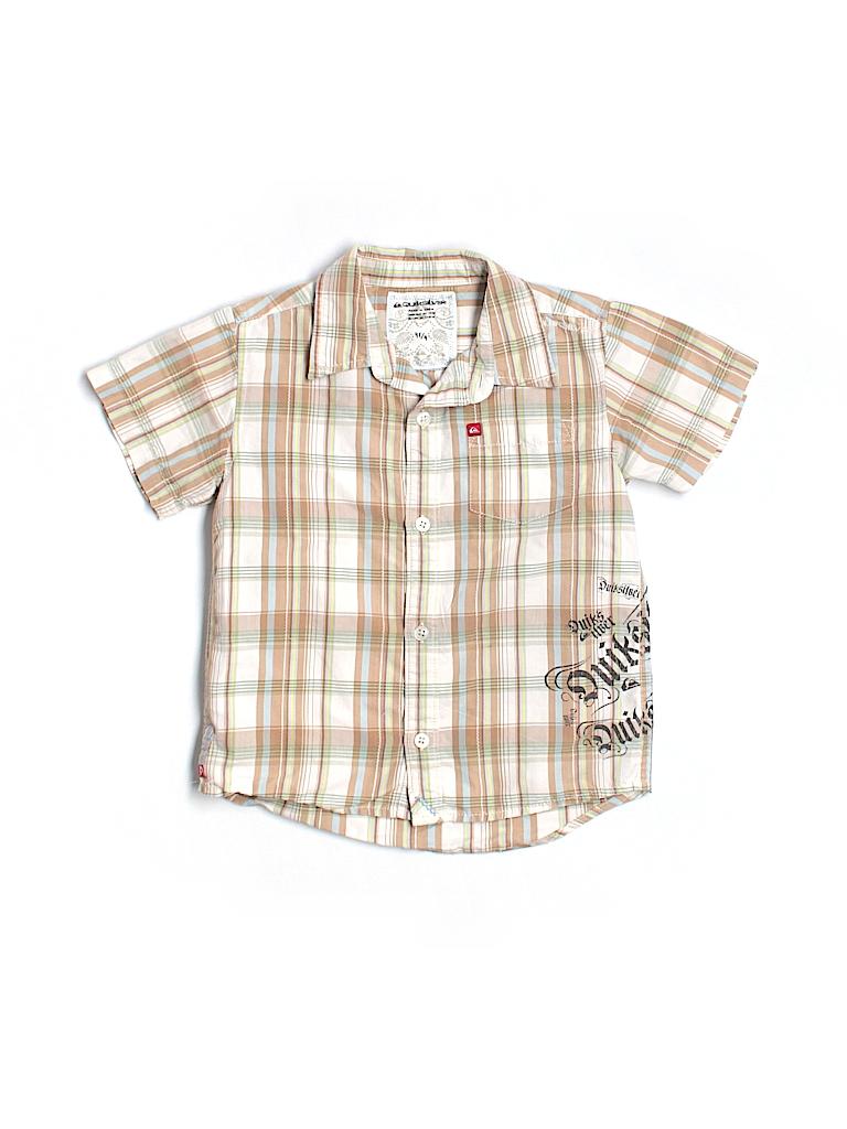 Quiksilver 100 cotton plaid graphic beige short sleeve for Bureau quiksilver