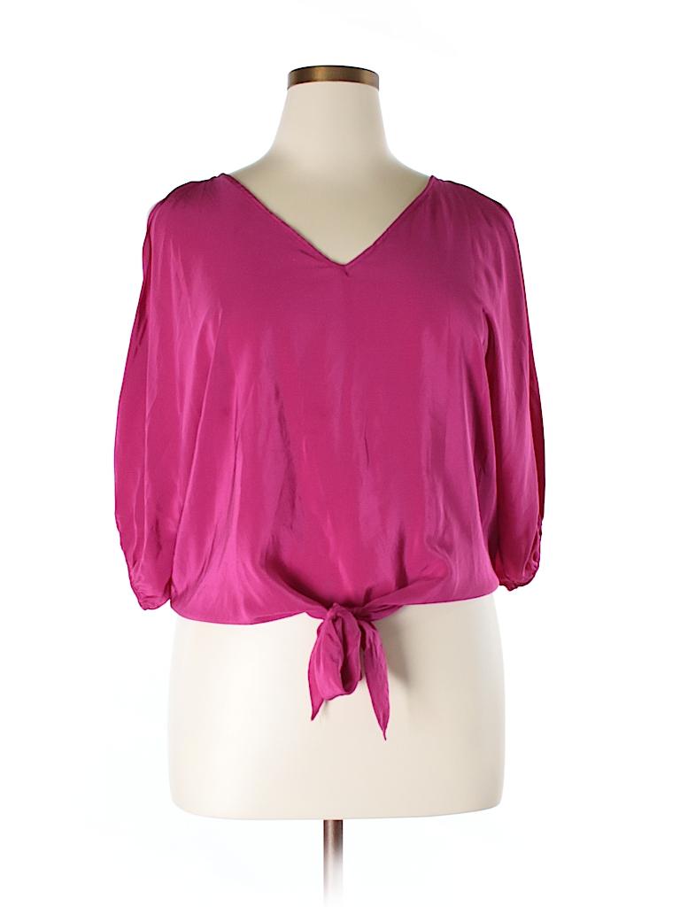 Akira Women 3/4 Sleeve Silk Top Size L