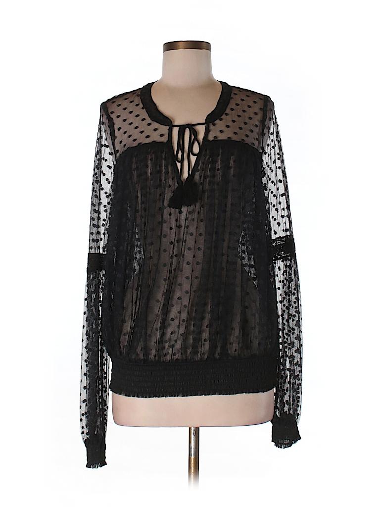Black Sheer Long Sleeve Blouse