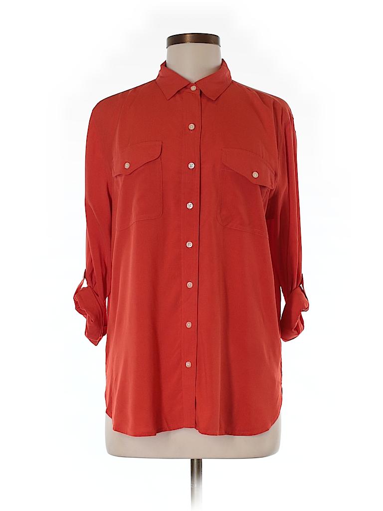 Ann Taylor LOFT Women 3/4 Sleeve Button-Down Shirt Size M