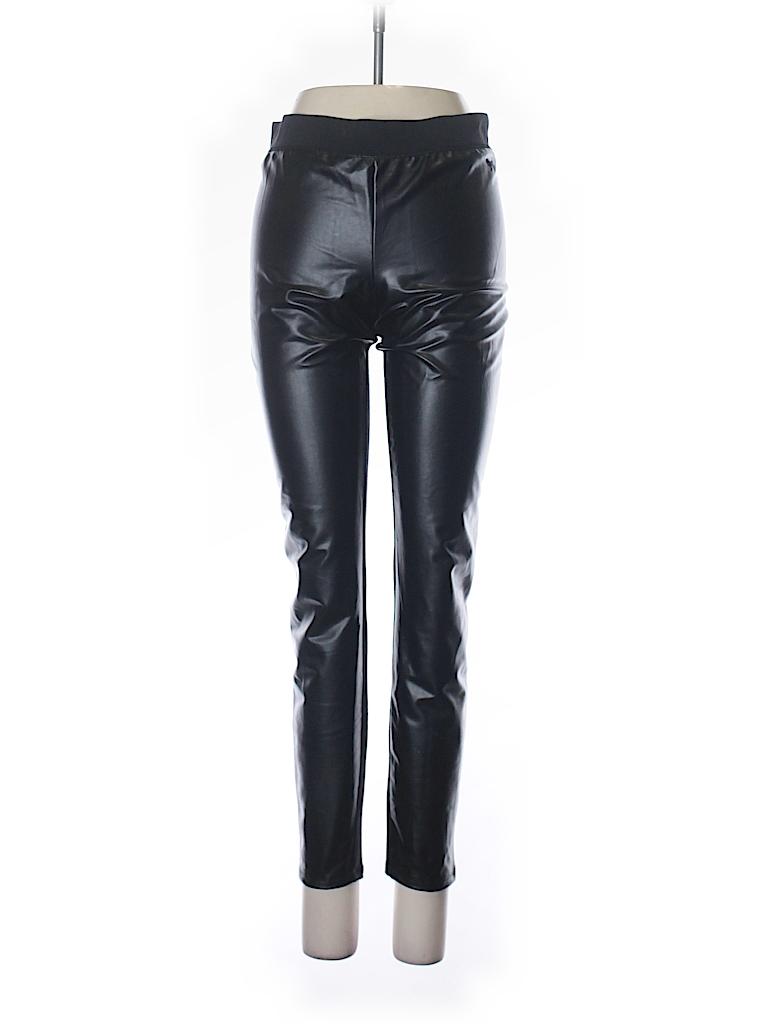 702d889cf0b755 Victoria's Secret Pink 100% Polyester Solid Black Faux Leather Pants ...