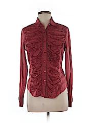 Velvet Long Sleeve Button-Down Shirt Size L