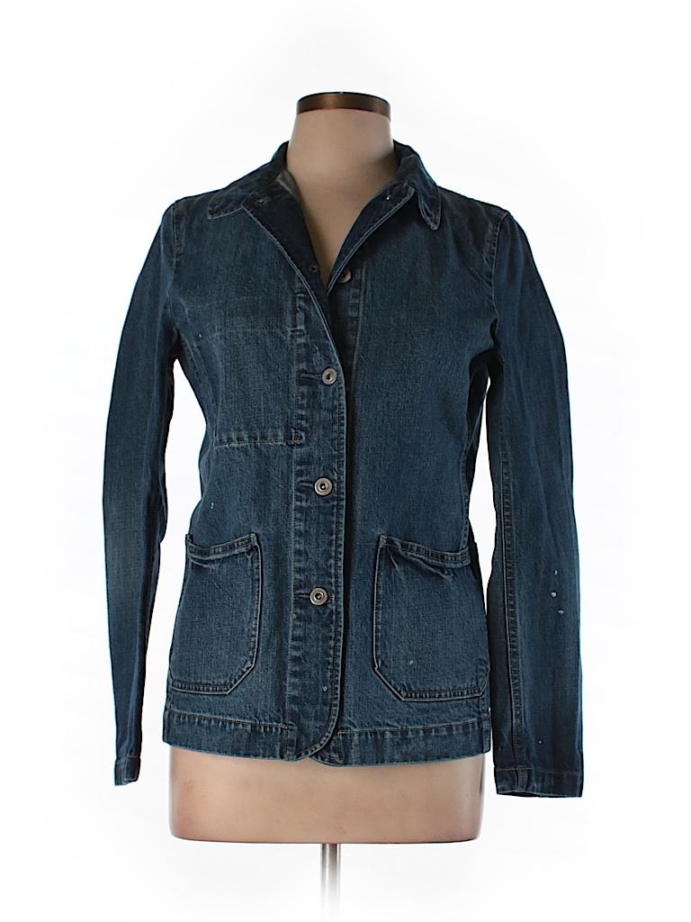Uniqlo 100 Cotton Solid Dark Blue Denim Jacket Size M 61 Off